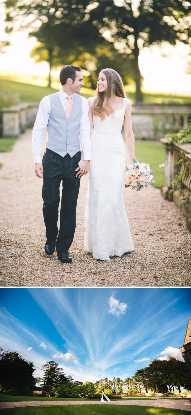 A Elegant And Classic English Wedding At Coombe Lodge With A Pronovias 'Balta' Dress With A Peach And Duck Egg Blue Colour Scheme Photographed By Albert Palmer._0012