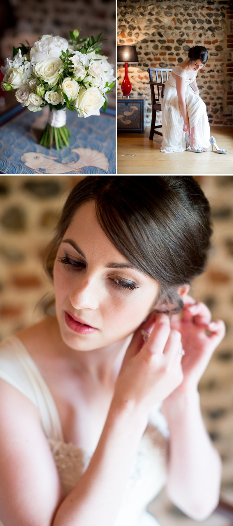 A Romantic Wedding At Chaucer Barn With A Blue Origami Cranes Theme And A Theia Wedding Dress With A White Rose And Peony Bouquet Photographed By Katherine Ashdown._0001