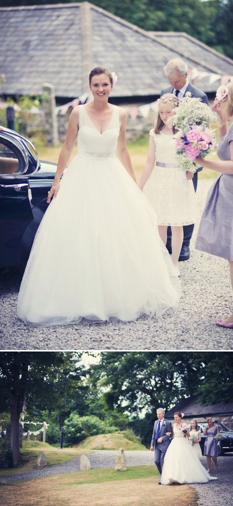 An Elegant Country Wedding At The Green Cornwall With Bride In Gown By Ellis Bridal With A Pink