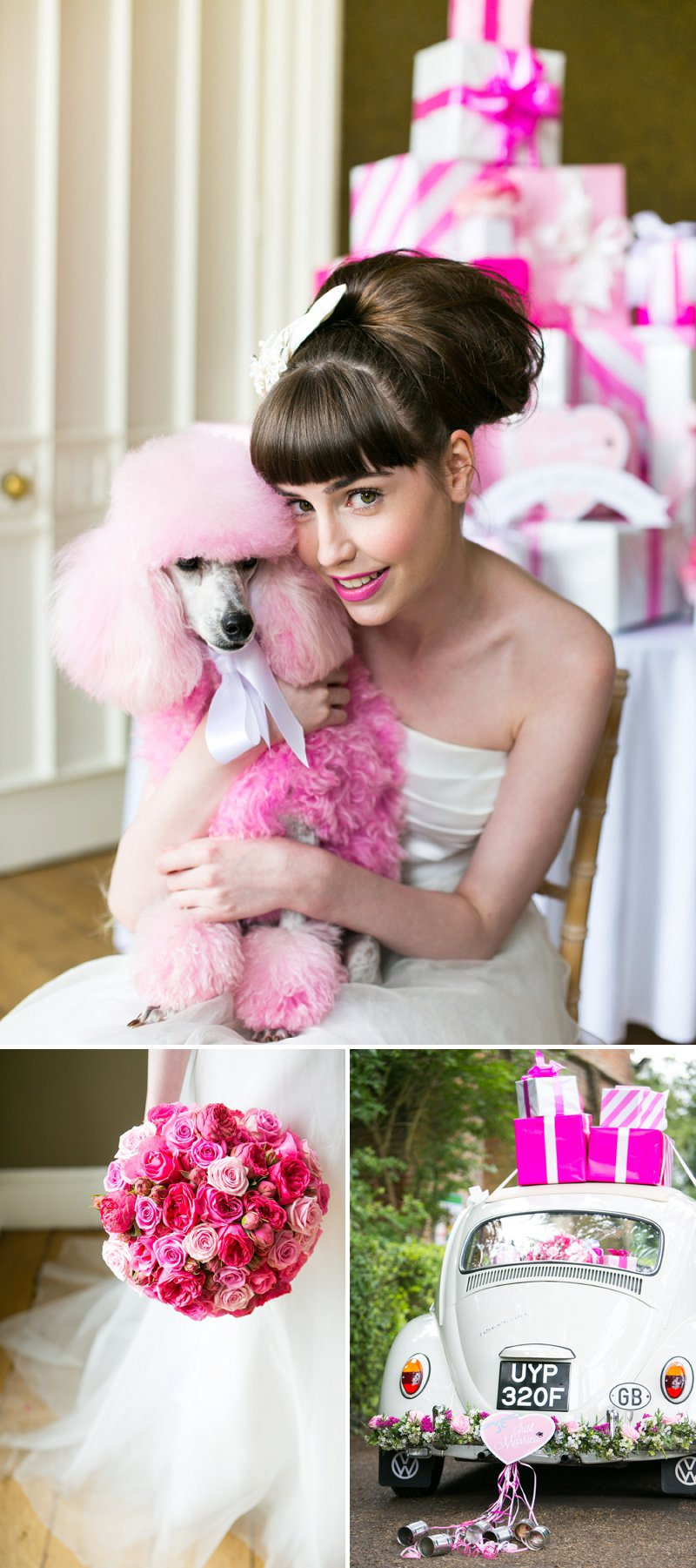 Fun Girly Bridal Inspiration Shoot At Nonsuch Mansion Inspired By Holly Golightly With Bright Pink Details A Vintage Wedding Car With Images by Anneli Marinovich Photography 1