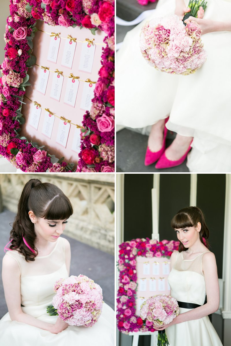 Fun Girly Bridal Inspiration Shoot At Nonsuch Mansion Inspired By Holly Golightly With Bright Pink Details A Vintage Wedding Car With Images by Anneli Marinovich Photography 12