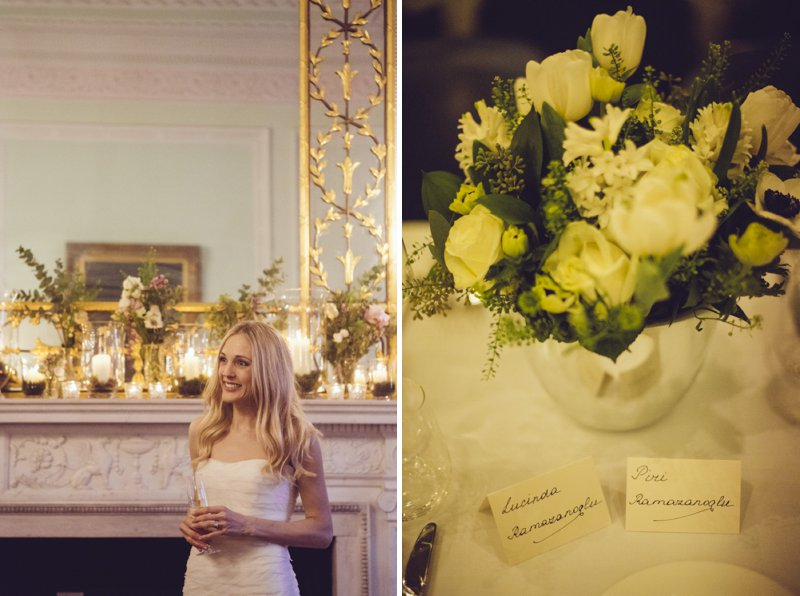 Sophisticated London Wedding At Chandos House With Reception And Dinner At Corrigan's Mayfair With Bride In Peter Langner Gown With Brian Atwood Shoes And Groom In Bespoke Thom Sweeney Suit With Flowers By Scarlet And Violet 7