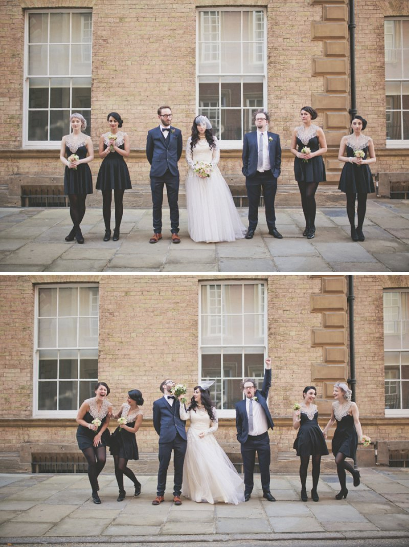 Vintage Emporium Style Wedding At Cedar Court Grand York With Bride In Vintage Gown From Glory Days York And Vintage Pearls And Groom In 20s Style Five Piece Suit With Bridesmaids In Black And White Lace Dresses From New Look 5