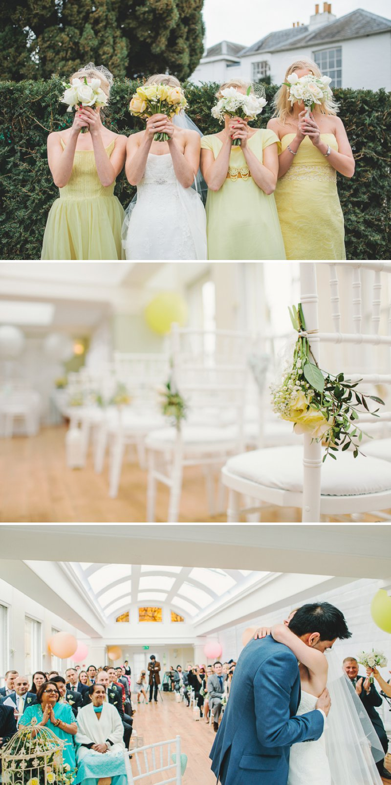 Yellow Themed Vintage Inspired Easter Wedding At Pembroke Lodge Richmond Park With Bride In Balira By Pronovias And Burberry Sandals With Groom In Blue Reiss Suit And Bridesmaids In Yellow Vintage Dresses With Images By Shell De Mar 1
