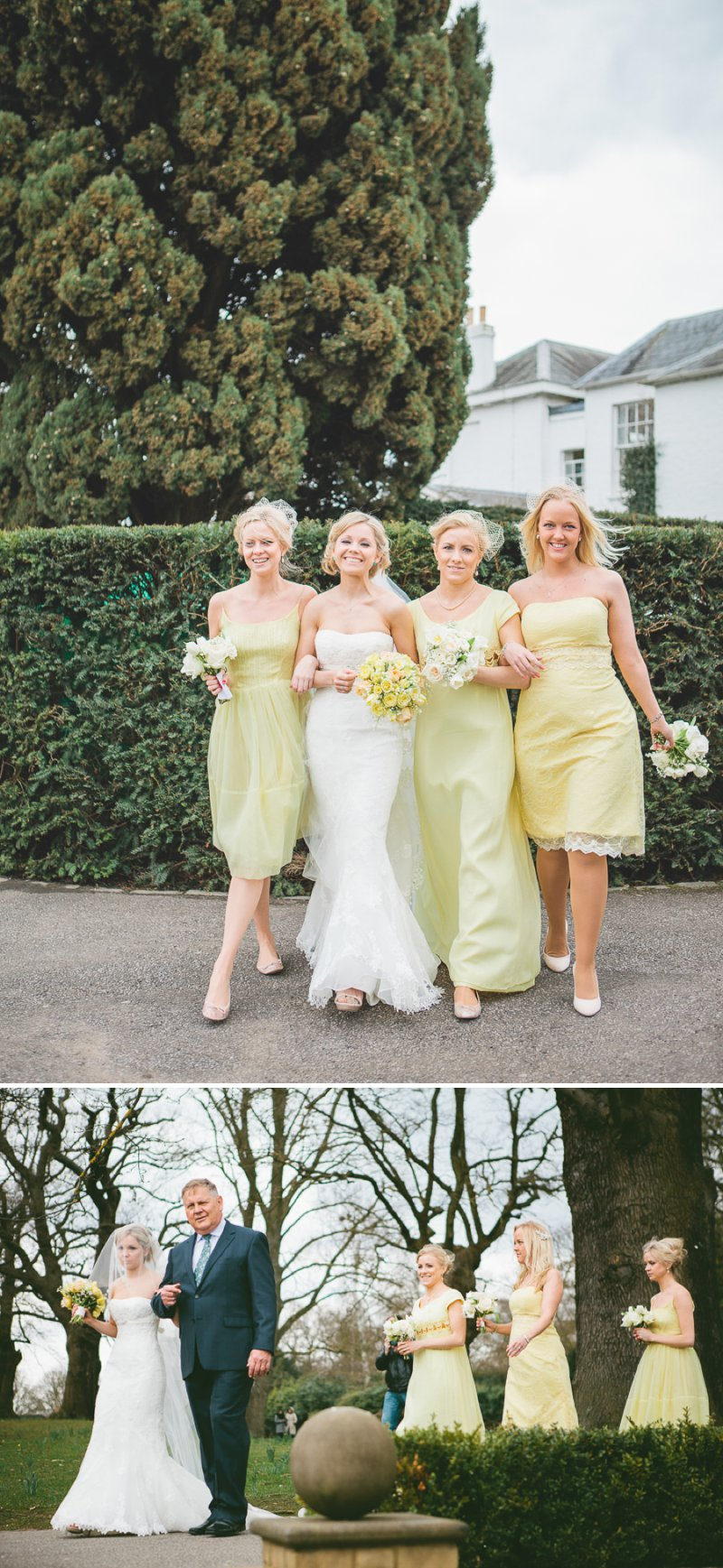 Yellow Themed Vintage Inspired Easter Wedding At Pembroke Lodge Richmond Park With Bride In Balira By Pronovias And Burberry Sandals With Groom In Blue Reiss Suit And Bridesmaids In Yellow Vintage Dresses With Images By Shell De Mar 4