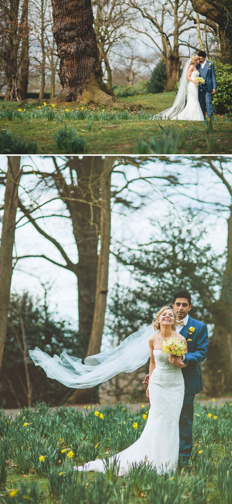 Yellow Themed Vintage Inspired Easter Wedding At Pembroke Lodge Richmond Park With Bride In Balira By Pronovias And Burberry Sandals With Groom In Blue Reiss Suit And Bridesmaids In Yellow Vintage Dresses With Images By Shell De Mar 8