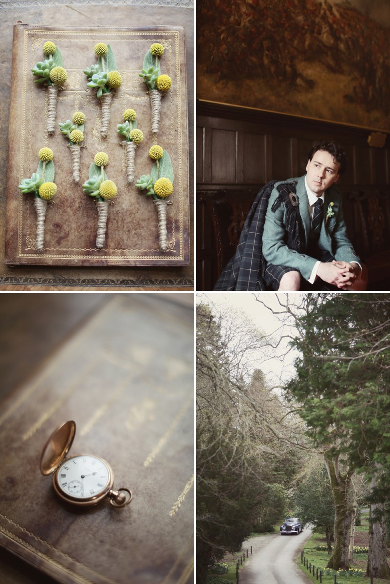 A Super Glamorous Spring Scottish Wedding At Fyvie Castle With An Ian Stewart Ruffled Fishtail Dress and A Yellow Billy Ball Bouquet With Photography By Craig and Eva Sanders._0002