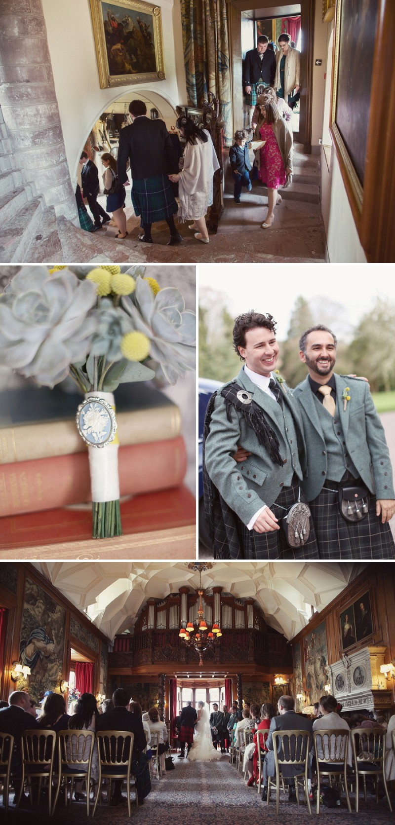 A Super Glamorous Spring Scottish Wedding At Fyvie Castle With An Ian Stewart Ruffled Fishtail Dress and A Yellow Billy Ball Bouquet With Photography By Craig and Eva Sanders._0006
