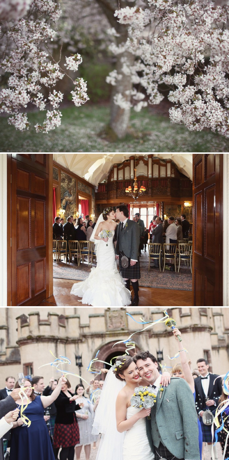A Super Glamorous Spring Scottish Wedding At Fyvie Castle With An Ian Stewart Ruffled Fishtail Dress and A Yellow Billy Ball Bouquet With Photography By Craig and Eva Sanders._0008