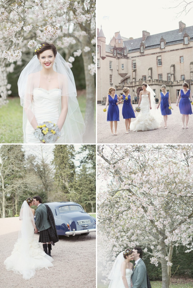 A Super Glamorous Spring Scottish Wedding At Fyvie Castle With An Ian Stewart Ruffled Fishtail Dress and A Yellow Billy Ball Bouquet With Photography By Craig and Eva Sanders._0010