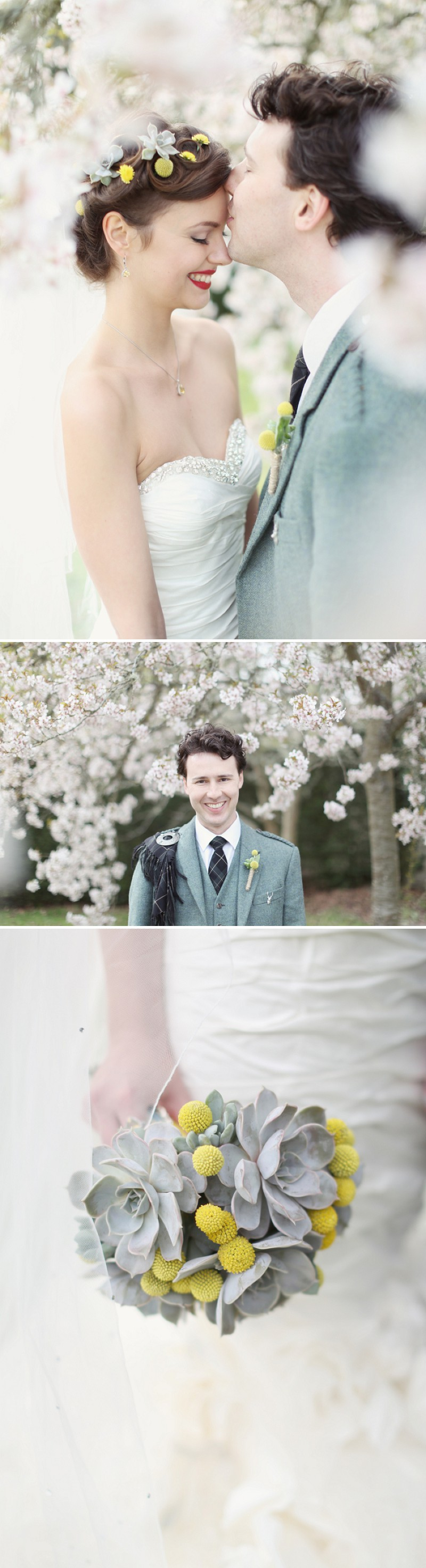 A Super Glamorous Spring Scottish Wedding At Fyvie Castle With An Ian Stewart Ruffled Fishtail Dress and A Yellow Billy Ball Bouquet With Photography By Craig and Eva Sanders._0011