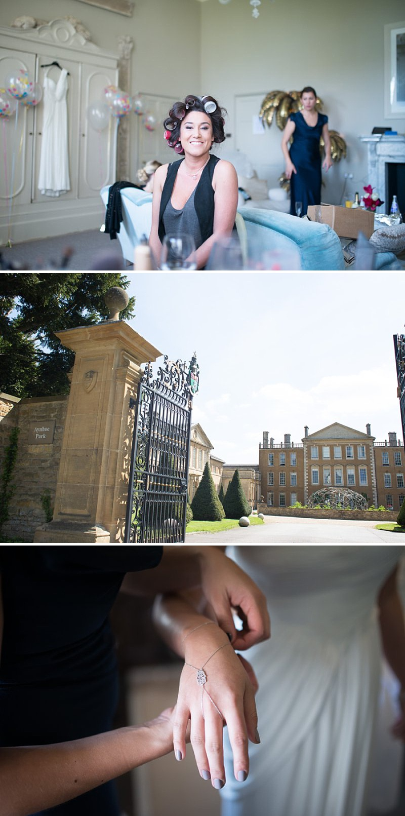 A gatsby themed wedding at Aynhoe Park with navy bridesmaids and bright balloons_0139