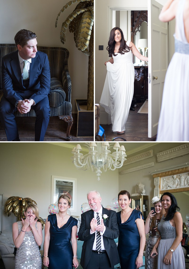 A gatsby themed wedding at Aynhoe Park with navy bridesmaids and bright balloons_0141