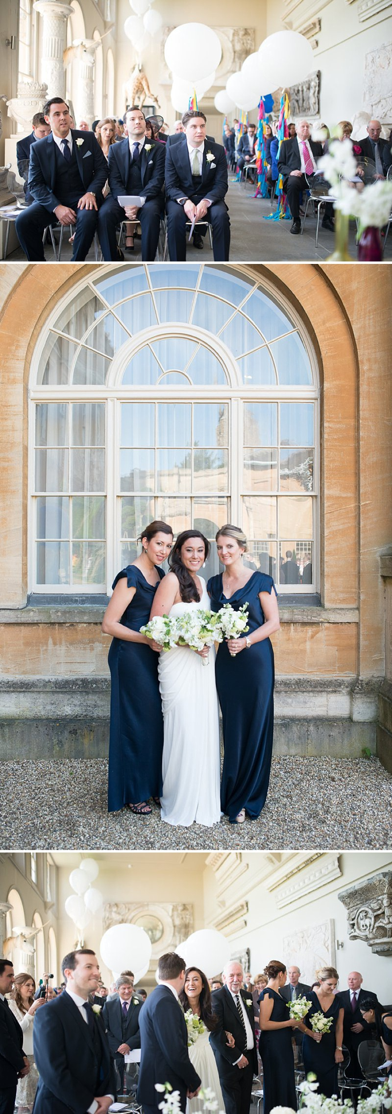 A gatsby themed wedding at Aynhoe Park with navy bridesmaids and bright balloons_0142