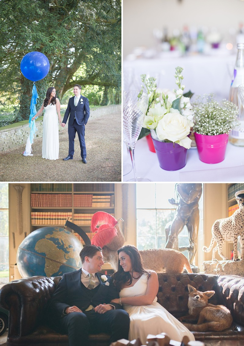 A gatsby themed wedding at Aynhoe Park with navy bridesmaids and bright balloons_0145