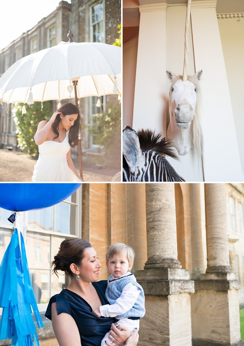 A gatsby themed wedding at Aynhoe Park with navy bridesmaids and bright balloons_0146