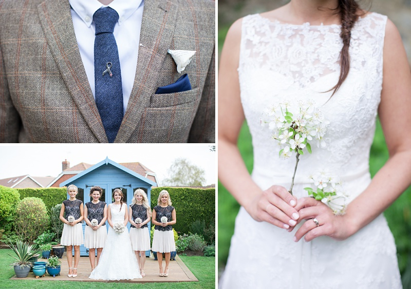 A rustic wedding with a blue colour scheme, bride in Maggie Sottero and groom wearing tweed from Topman. Hand made paper flowers made from fifty shades of grey pages and photography by Camilla Arnhold_0021