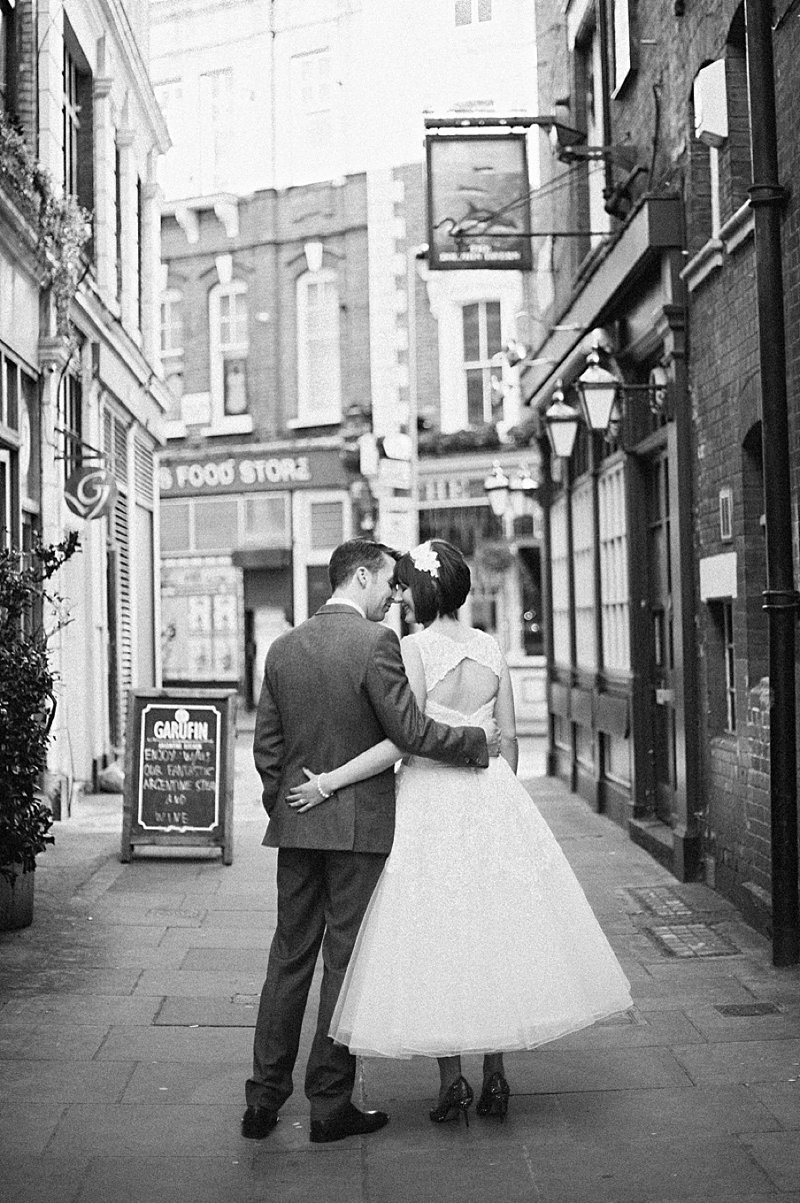 A vintage inspired wedding with Shakespeare theme and 50s style dress from Justin Alexander and 50s suits from Ted Baker and photography by Dominique Bader_0013