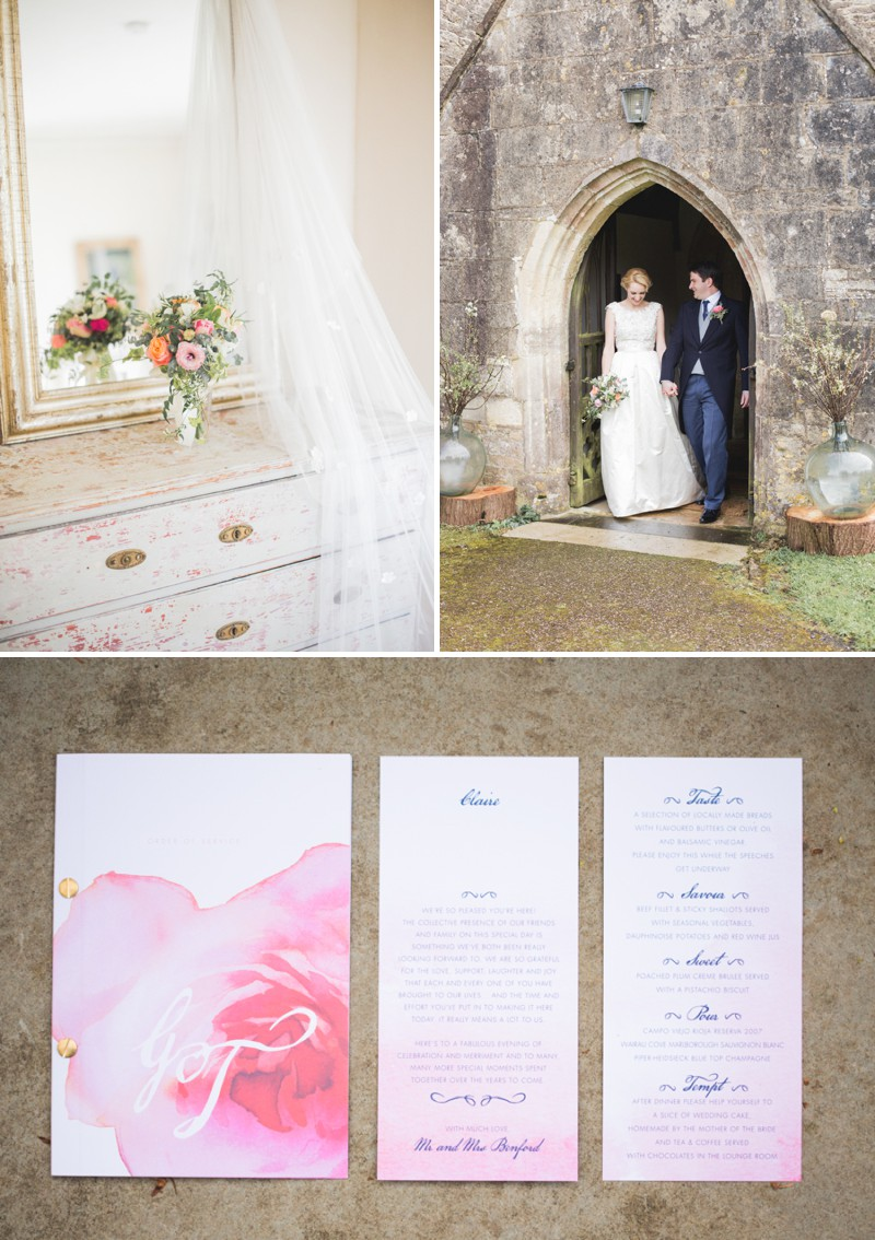An Elegant English Wedding At The Matara Centre In The Cotswolds With A Bespoke Jenny Lessin Wedding Skirt and Top And Hot Pink Bridesmaid Dresses And A Gin And Tonic Cocktail Bar By M&J Photography._0007