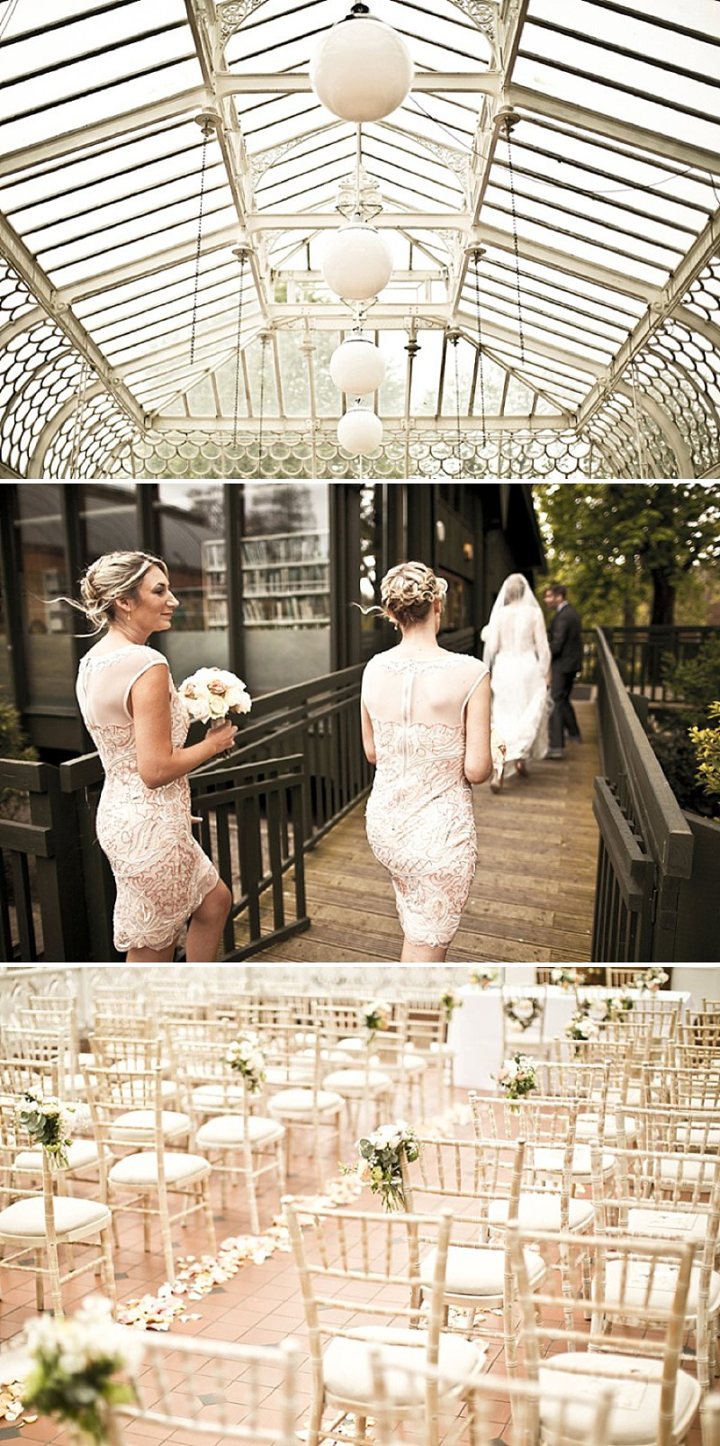 Laid Back London Wedding At The Horniman Museum With A Peach And Rose Gold Colour Scheme With Bride In Adagio By Claire Pettibone With Bridesmaids In Nude Dresses From Miss Selfridge 3