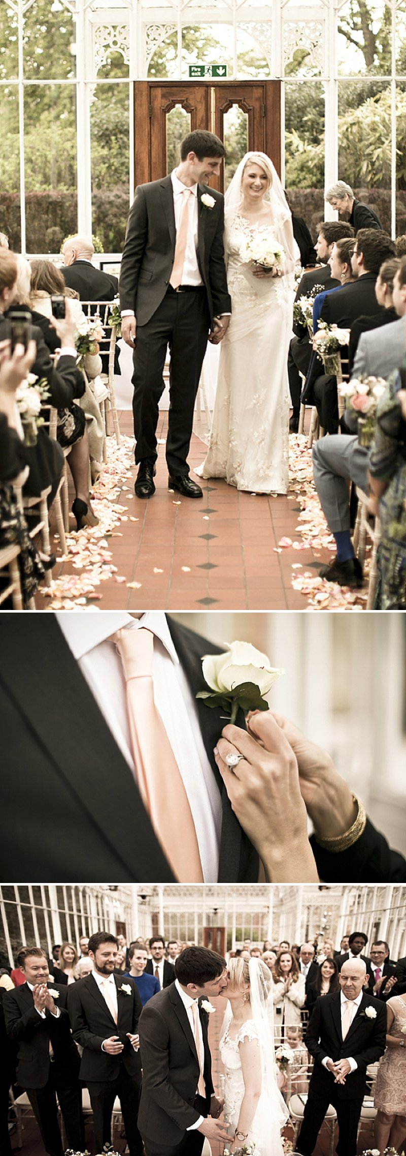 Laid Back London Wedding At The Horniman Museum With A Peach And Rose Gold Colour Scheme With Bride In Adagio By Claire Pettibone With Bridesmaids In Nude Dresses From Miss Selfridge 5
