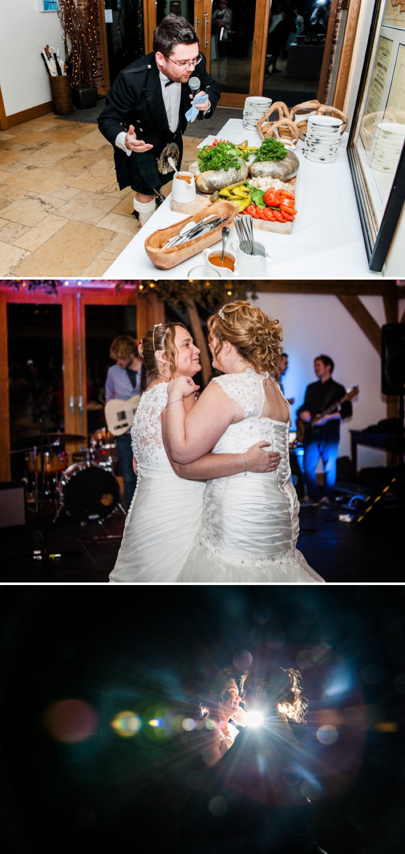 Rustic Same Sex Wedding At Mythe Barn With Brides In Traditional Ivory Gowns By Mori Lee And Donna Lee Designs With Bridesmaids In Dusky Pink And Sage Green 10