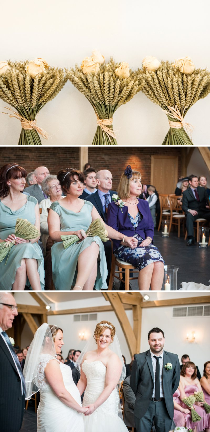 Rustic Same Sex Wedding At Mythe Barn With Brides In Traditional Ivory Gowns By Mori Lee And Donna Lee Designs With Bridesmaids In Dusky Pink And Sage Green 4