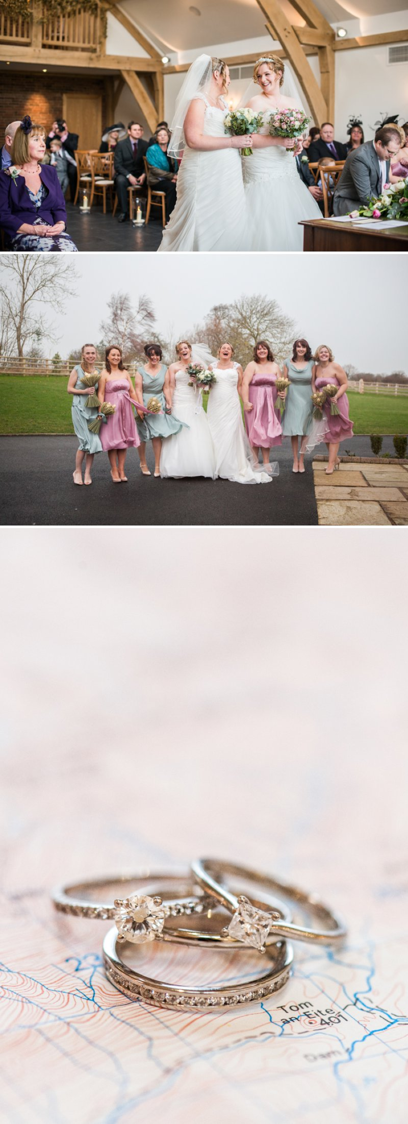 Rustic Same Sex Wedding At Mythe Barn With Brides In Traditional Ivory Gowns By Mori Lee And Donna Lee Designs With Bridesmaids In Dusky Pink And Sage Green 5