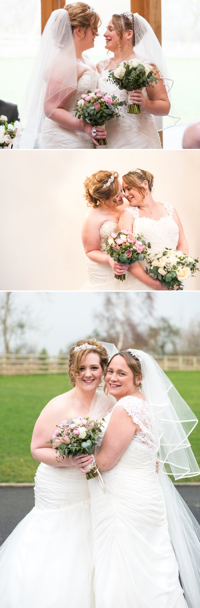 Rustic Same Sex Wedding At Mythe Barn With Brides In Traditional Ivory Gowns By Mori Lee And Donna Lee Designs With Bridesmaids In Dusky Pink And Sage Green 8
