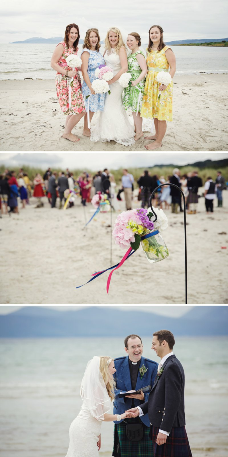 Rustic Scottish Beach Wedding With Bride In Justin Alexander And Vivien Of Holloway And Groom In Kilt With Bridesmaids In 50s Style Gowns With A Traditional Scottish Ceilidh 1