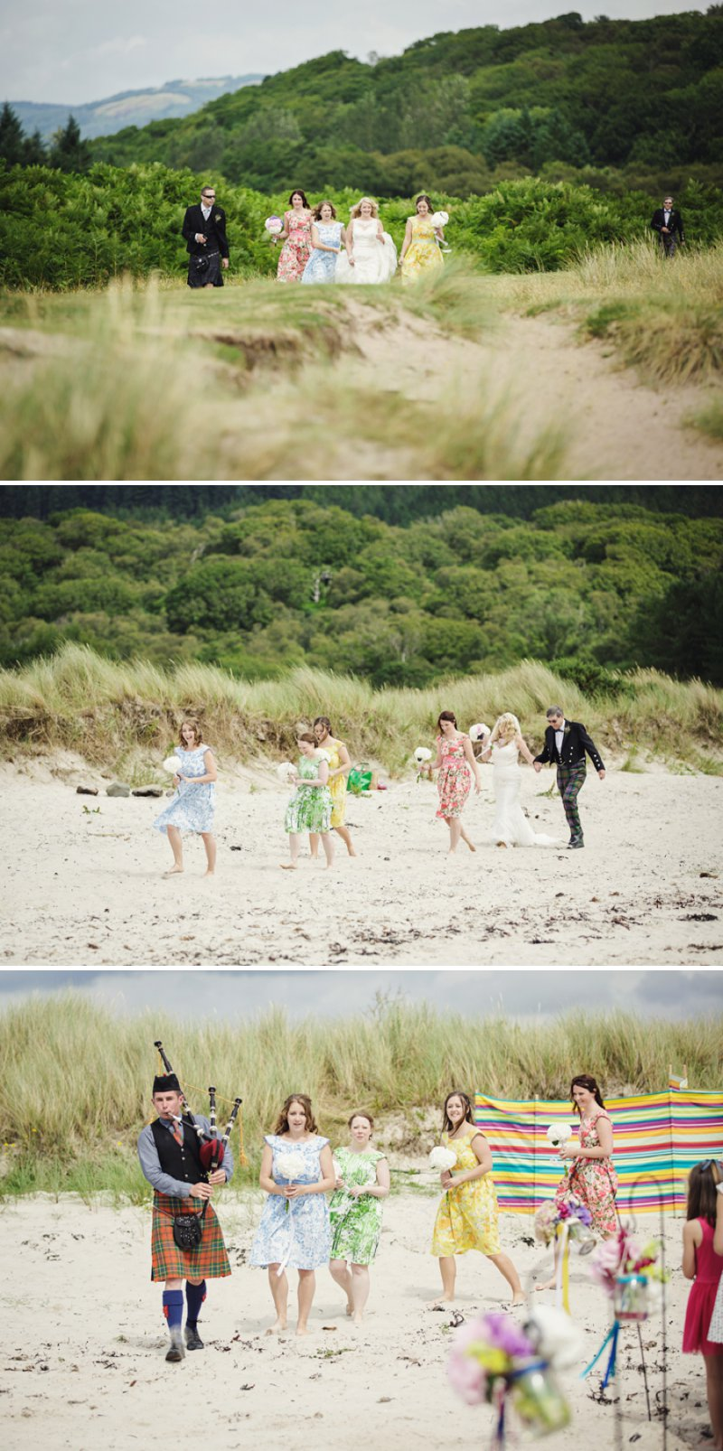Rustic Scottish Beach Wedding With Bride In Justin Alexander And Vivien Of Holloway And Groom In Kilt With Bridesmaids In 50s Style Gowns With A Traditional Scottish Ceilidh 3