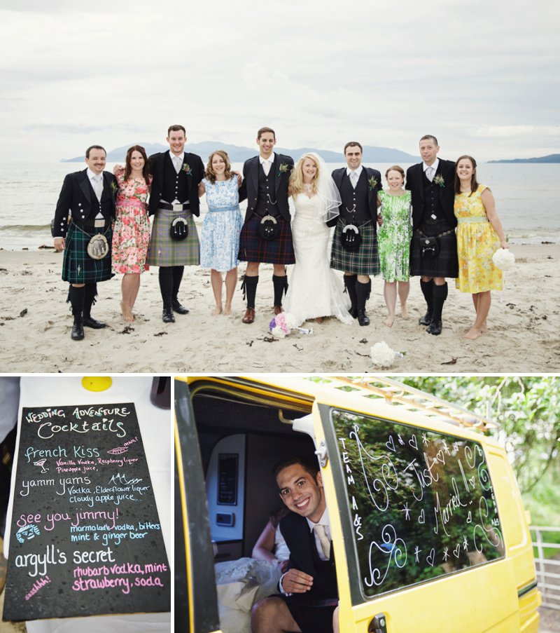 Rustic Scottish Beach Wedding With Bride In Justin Alexander And Vivien Of Holloway And Groom In Kilt With Bridesmaids In 50s Style Gowns With A Traditional Scottish Ceilidh 7