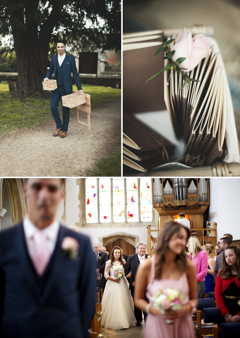 Rustic Wedding At Hyde Barn In Stow On The Wold With A Pale Pink Colour Scheme And Bride In Samantha By Sassi Holford With Bridesmaids In Pale Pink Twobirds Dresses With Groom In Navy Reiss Suit 5