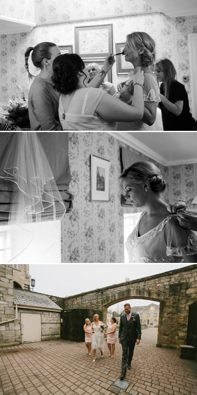 Vintage Inspired Wedding At Hazlewood Castle In Yorkshire With Bride In Foxglove By Jenny Packham And Bridesmaids In Pink Dresses From Coast With A Firework Display 2