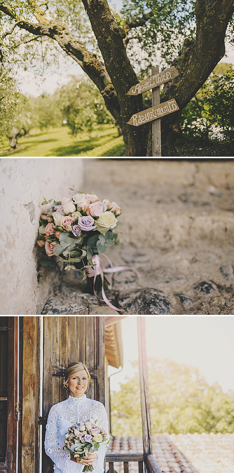 An Italian Destination Wedding At Borgo di Tragliata Near Rome With A Vintage Crotchet Wedding Dress and Sorbet Rose Bouquet Photographed By Mark Pacura._0001