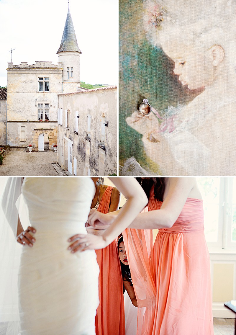 A Destination French Wedding At Chateau Lagorce In Bordeaux With A Vera Wang 'Gemma' Wedding Dress And A Peach And Coral Colour Theme With Photography By Emm and Clau._0002