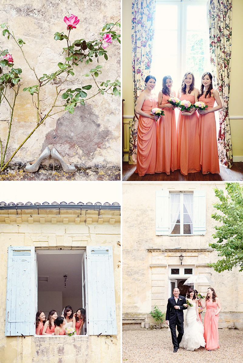 A Destination French Wedding At Chateau Lagorce In Bordeaux With A Vera Wang 'Gemma' Wedding Dress And A Peach And Coral Colour Theme With Photography By Emm and Clau._0003