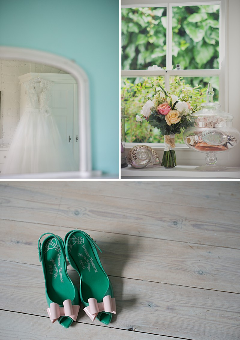 A Fifties Style Wedding At Beacon House In Whitstable With Green Wedding Shoes And A Grace dress by Allure Bridals With A Peach And White Bouquet By Kari Bellamy Photography._0001