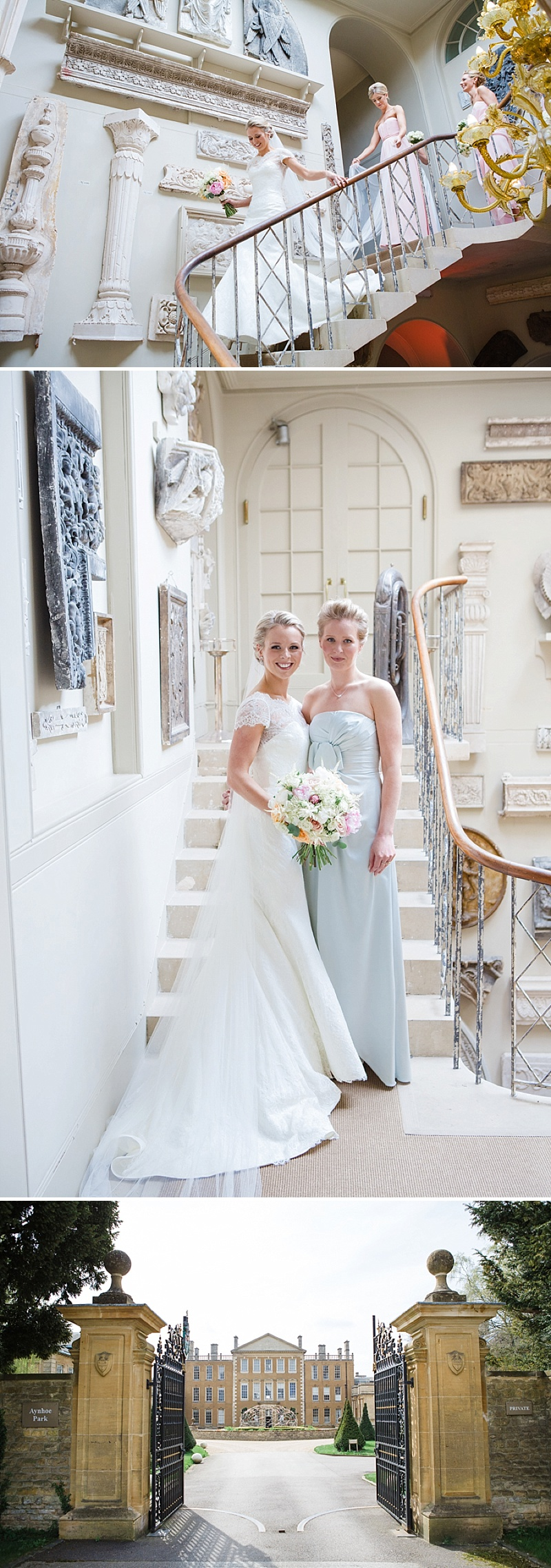 Elegant Wedding At Aynhoe Park With A Pastel Colour Scheme And Bride In A Lace Cap Sleeved Augusta Jones Dress For The Ceremony And A Sequinned Jenny Packham Gown For The Reception And Bridesmaids In Pink Dresses From Ted Baker 3