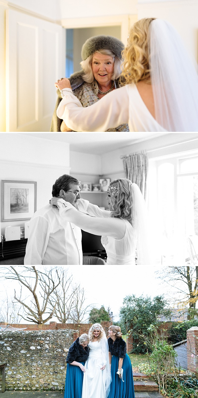 A A modern black tie winter wedding at Fetcham Park in Surrey with a bride in Emma Hunt and bridesmaids in Twobirds_0282