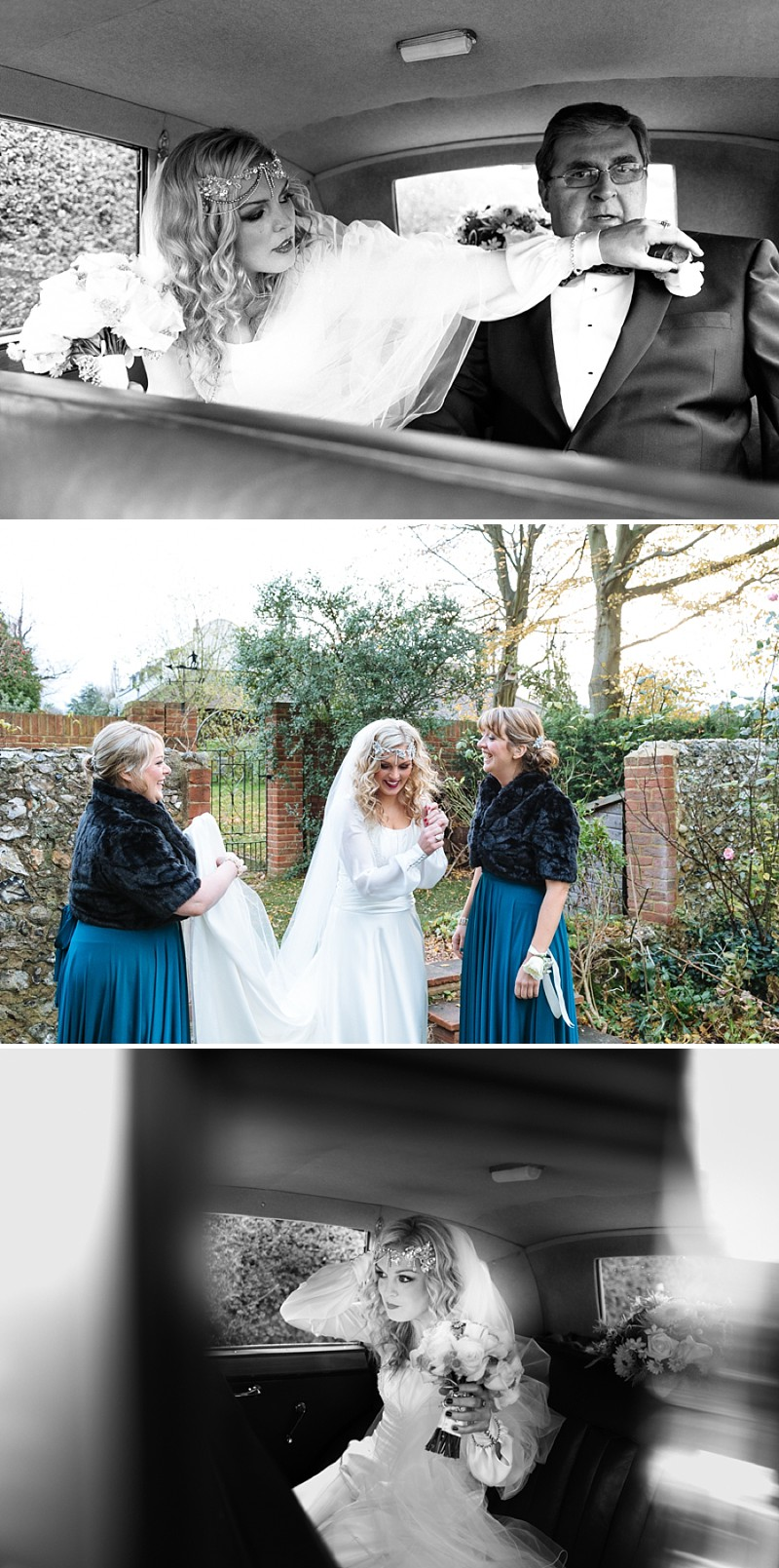 A A modern black tie winter wedding at Fetcham Park in Surrey with a bride in Emma Hunt and bridesmaids in Twobirds_0283