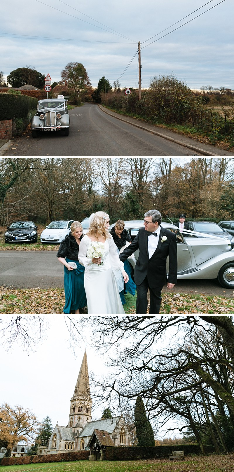 A A modern black tie winter wedding at Fetcham Park in Surrey with a bride in Emma Hunt and bridesmaids in Twobirds_0284