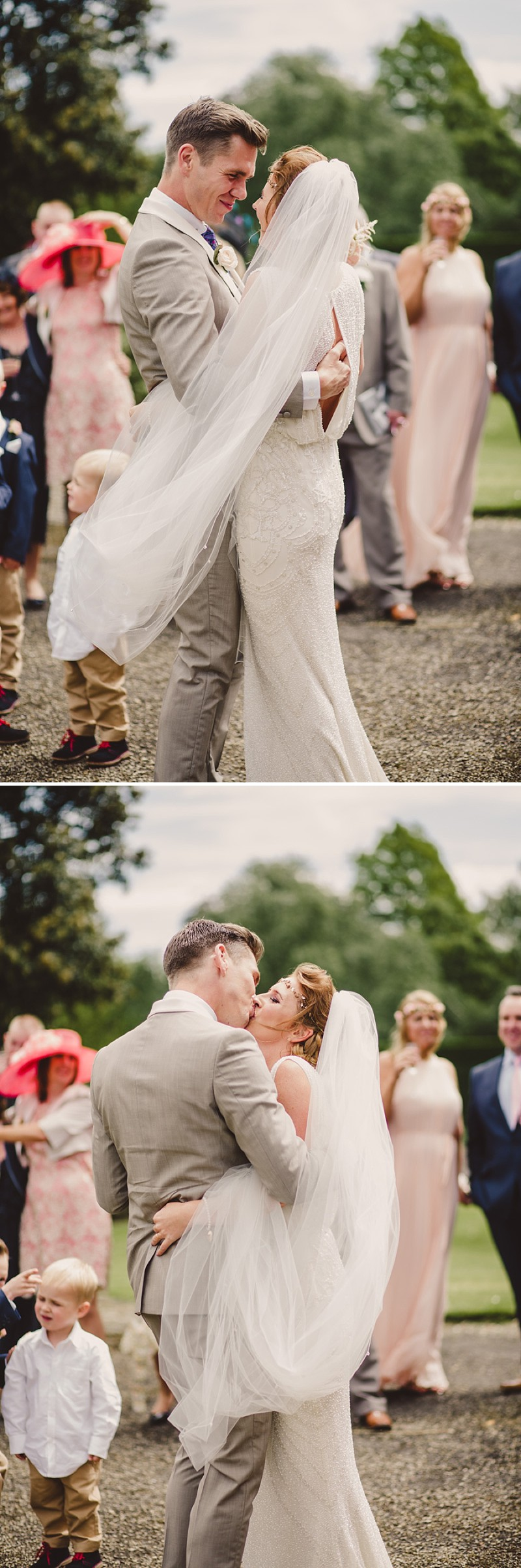 A gold coral peach and pink colour scheme for a wedding at The Old Rectory with a bride in a Jenny Packham Esme dress_0273