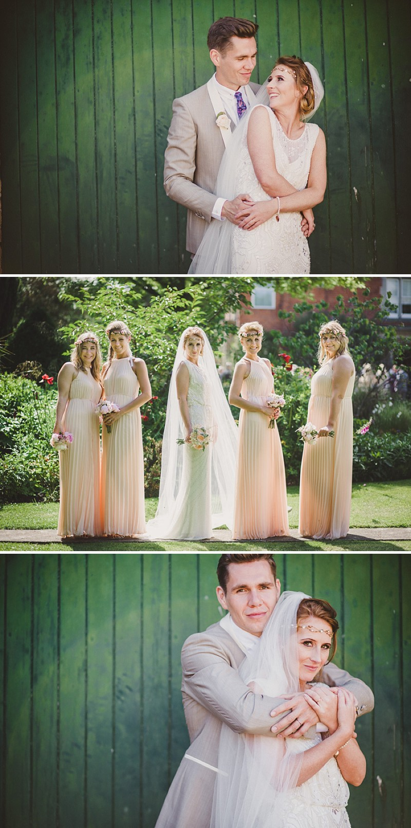 A gold coral peach and pink colour scheme for a wedding at The Old Rectory with a bride in a Jenny Packham Esme dress_0275