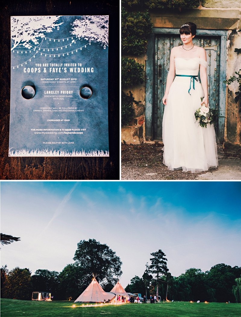 An alternative wedding with bespoke wedding dress and home made blue bridesmaids gowns. outdoor venue with rustic garden games and reception teepee. Photography by Steve Gerrard_0001
