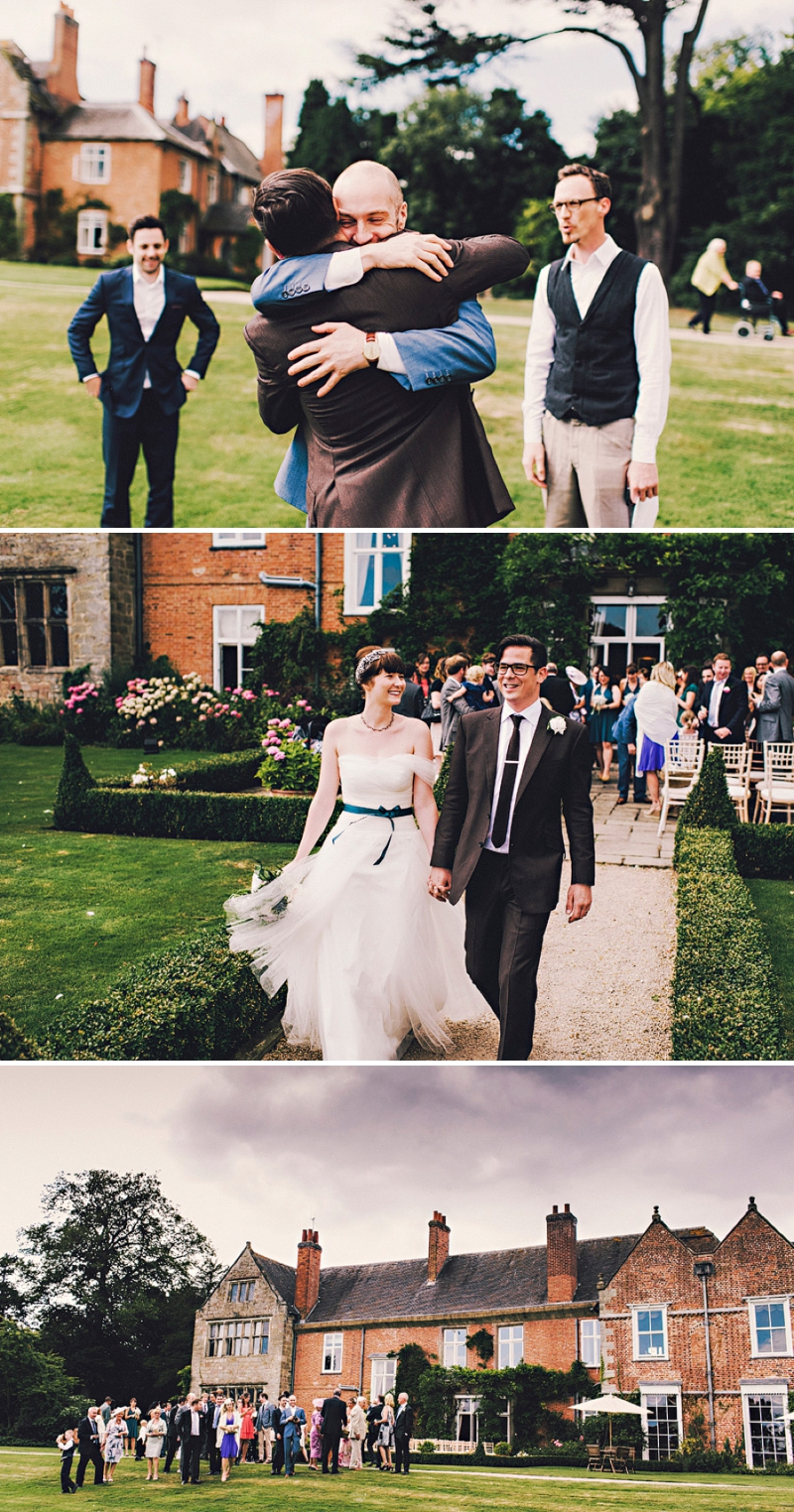 An alternative wedding with bespoke wedding dress and home made blue bridesmaids gowns. outdoor venue with rustic garden games and reception teepee. Photography by Steve Gerrard_0009