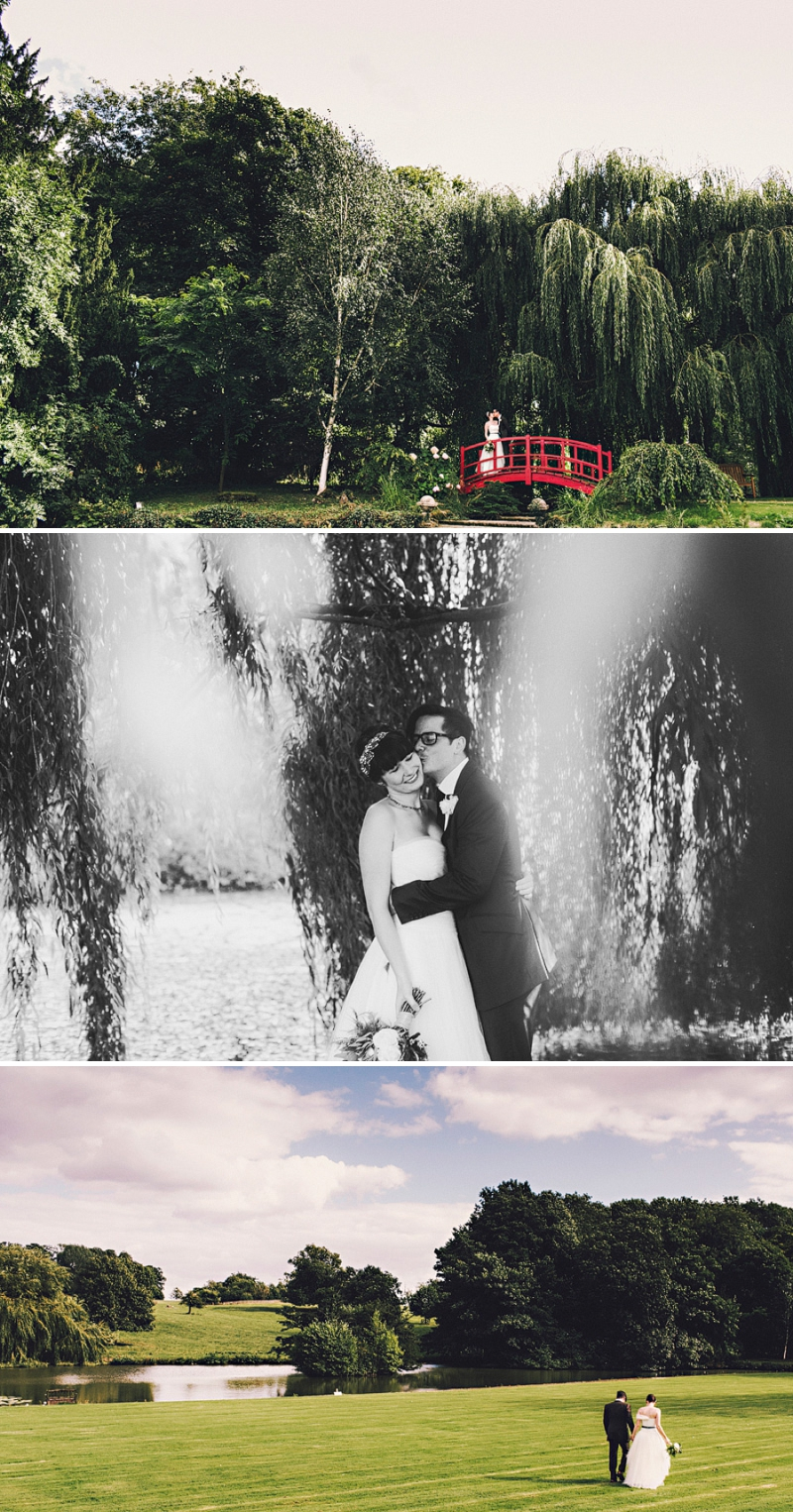 An alternative wedding with bespoke wedding dress and home made blue bridesmaids gowns. outdoor venue with rustic garden games and reception teepee. Photography by Steve Gerrard_0011