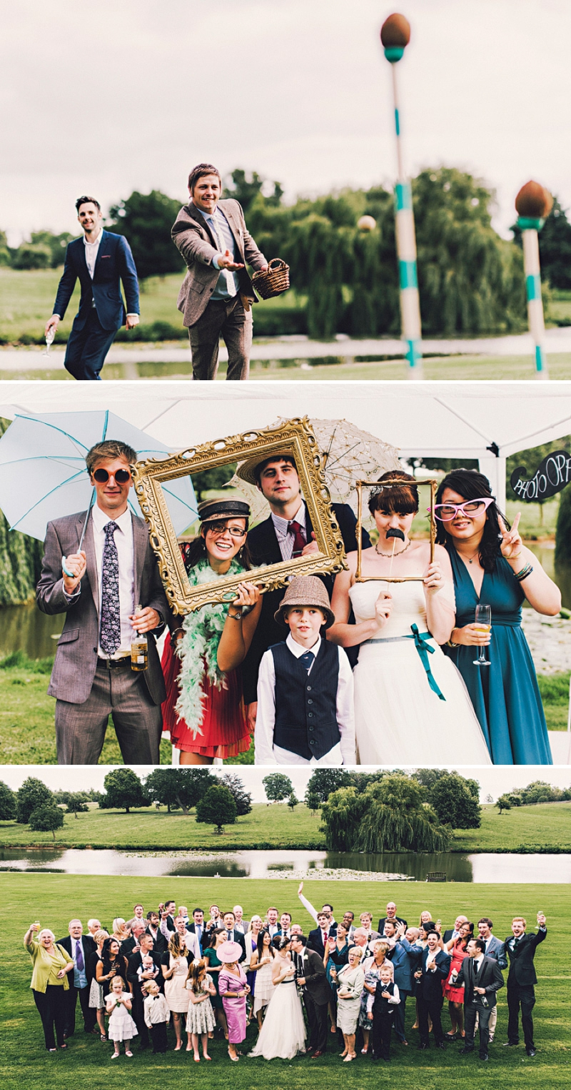 An alternative wedding with bespoke wedding dress and home made blue bridesmaids gowns. outdoor venue with rustic garden games and reception teepee. Photography by Steve Gerrard_0014