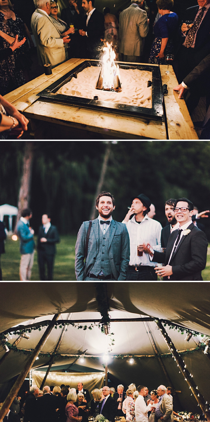 An alternative wedding with bespoke wedding dress and home made blue bridesmaids gowns. outdoor venue with rustic garden games and reception teepee. Photography by Steve Gerrard_0015