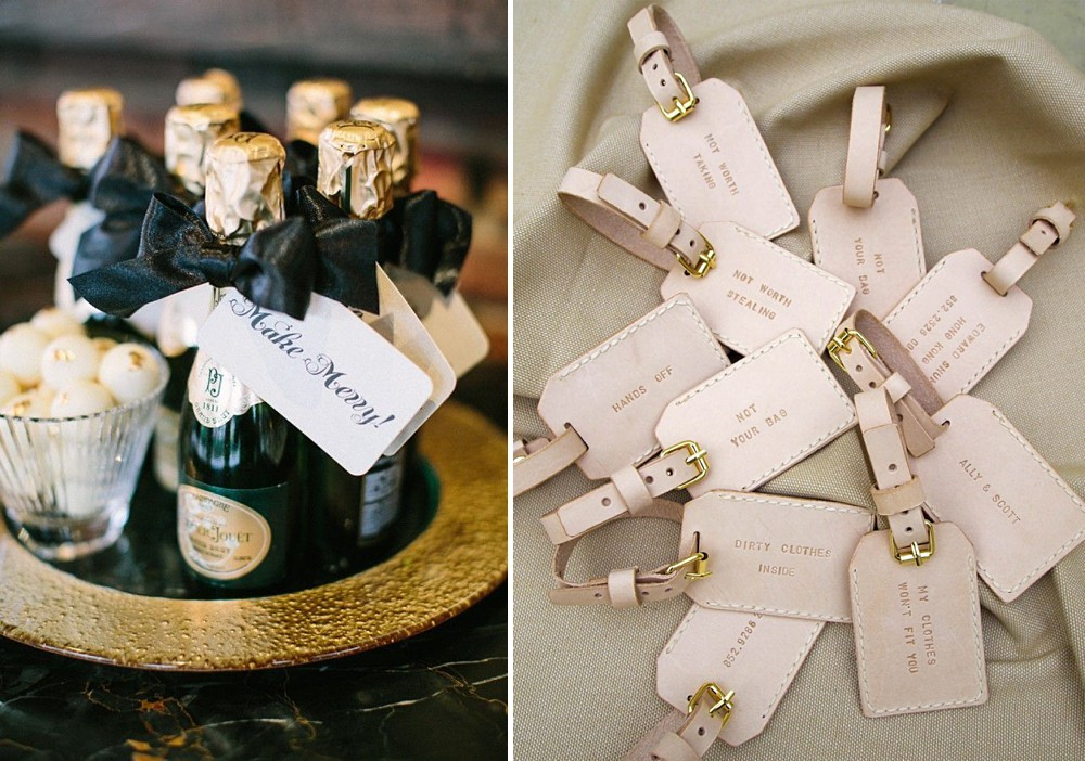 champagne bottle wedding favours and bespoke luggage label wedding favours